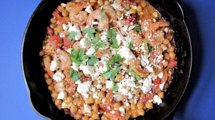 Baked Shrimp in Tomato-Feta Sauce with Chickpeas