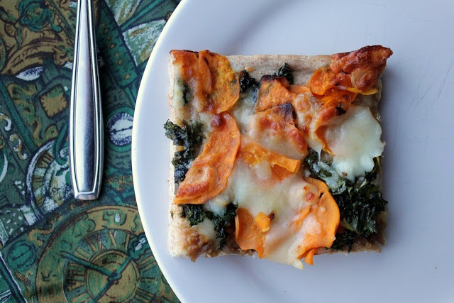 Fill 'Er Hup!: Kale, Sweet Potato, and Caramelized Onion Pizza