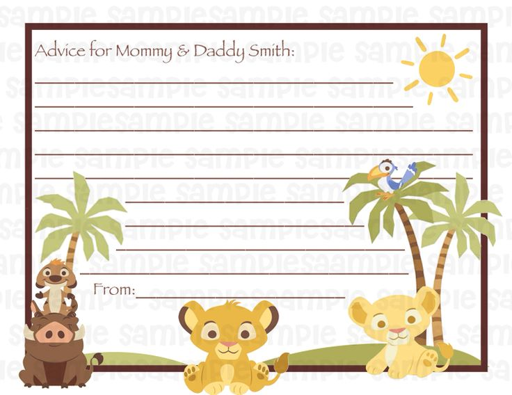 lion king baby shower advice cards lion king baby shower pinterest