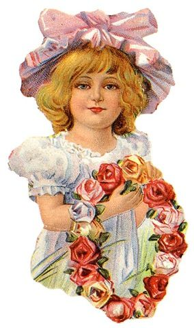 Image detail for -free vintage clip art mothers day little girl in hat with flower ...