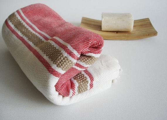 Turkish BATH Towel Handwoven Peshtemal - Red Color