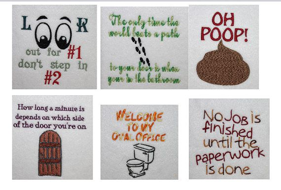 Toilet Paper sayings or images Filled Machine Embroidery File Toilet ...