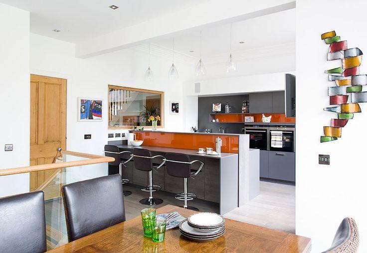 Grey Kitchen With Orange Accents Kitchen Inspiration