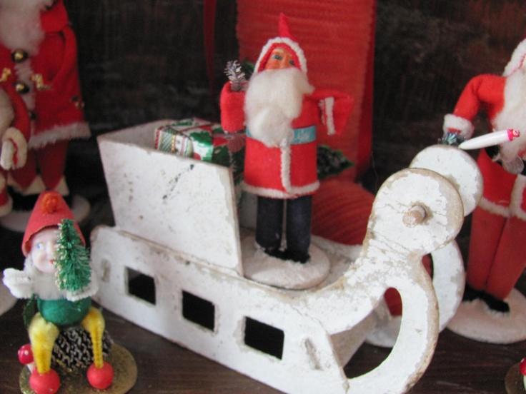 Japan Santa Claus cardboard mica sleigh. | Santa Claus | Pinterest