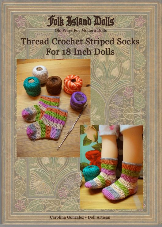 Free Pattern - Crochet Thread Striped Socks For 18 Inch Dolls