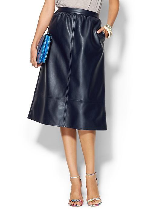 leather navy midi skirt shopaholic