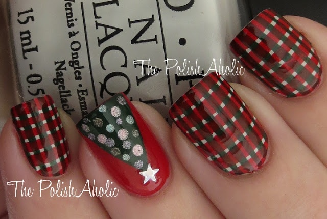 The PolishAholic: NOTD: Christmas Plaid