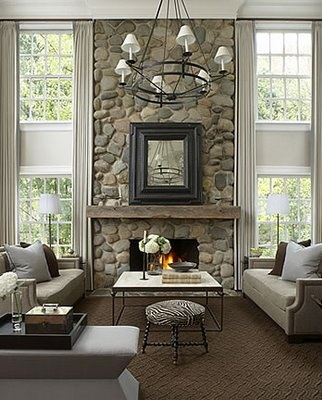 Stone Fireplace With Windows Either Side Home Decor