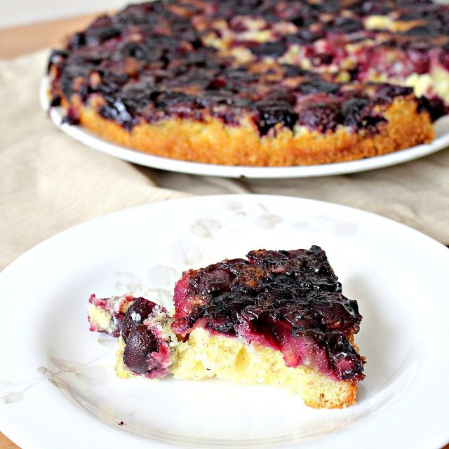 Cherry Cornmeal Upside-Down Cake by eatswellwithothers, via Flickr