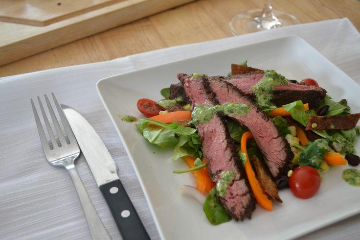 Flank Steak Salad With Chimichurri Dressing Recipe — Dishmaps