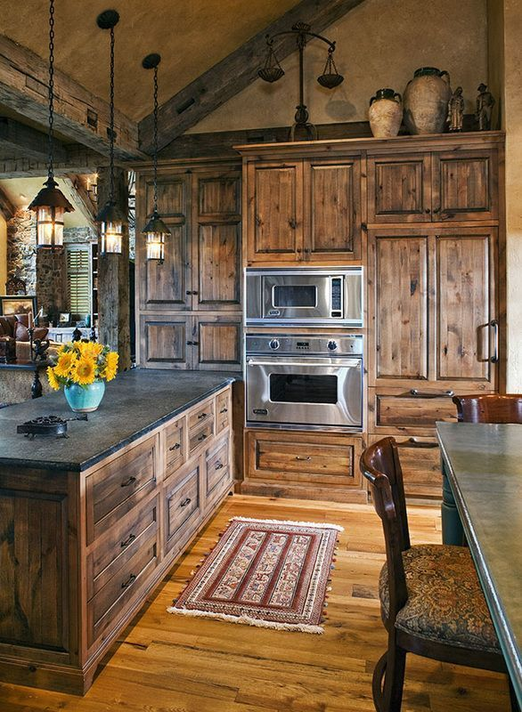 Rustic kitchen cabin fever pinterest for Cabin kitchen cabinets