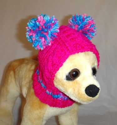 Knitting Pattern For Small Dog Hat : Details about Pet Clothes Colorful Hand-Knit Dog Hat for Small Dogs X?