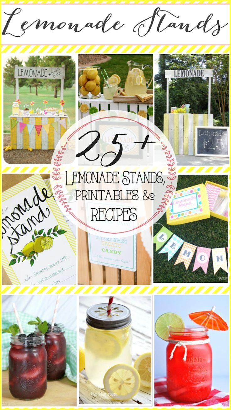 25+ Lemonade Stand Ideas, Printables and Recipes. #diylemonadestands #freeprintables #lemonaderecipes