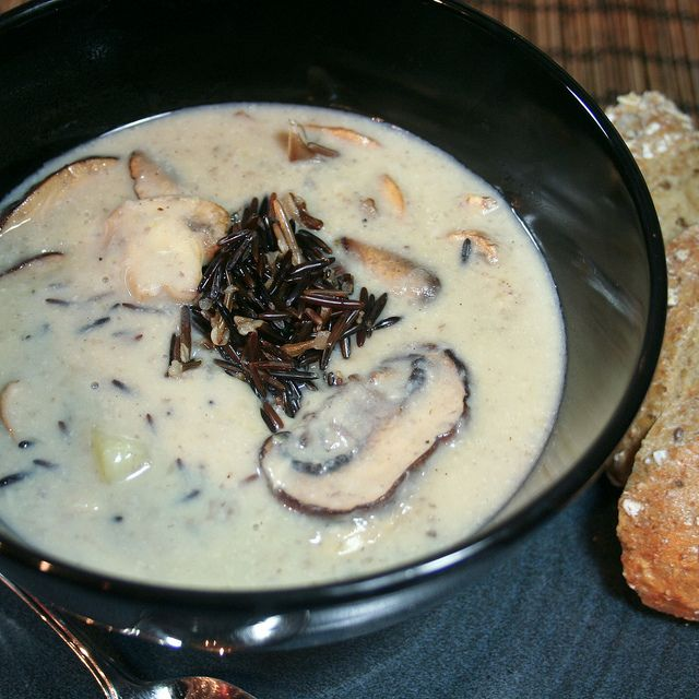 creamy mushroom and wild rice soup from the healthy foodie
