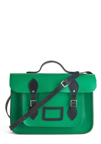 In love with this green and navy satchel. Super sturdy and even prettier in person!