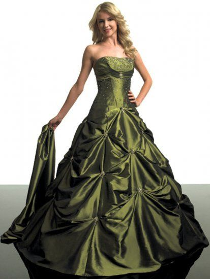 Olive green ball gown meenus stuff pinterest for Olive green wedding dresses