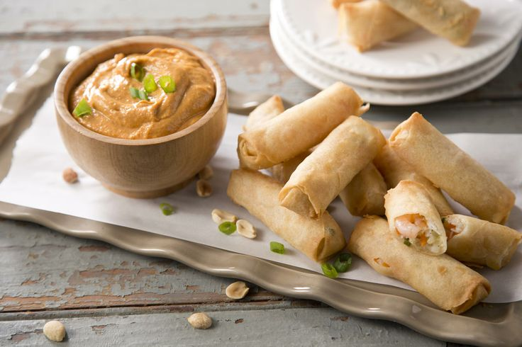 ... appetizer - Shrimp Spring Rolls with Spicy Peanut Dipping Sauce