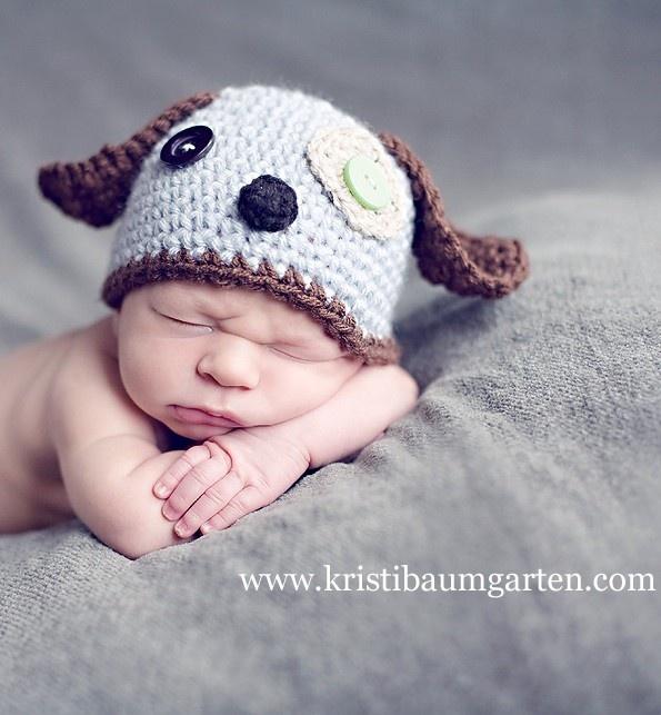 Crochet Baby Hat Patterns Dog : Baby SCRAPPY PUPPY DOG Crochet Hat Newborn 0 3 6 Months