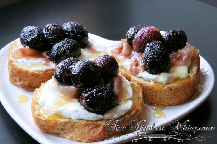 Roasted Grape Crostini with Ricotta, Prosciutto and Honey Drizzle