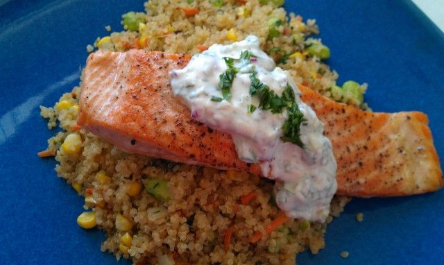 Salmon, quinoa, corn, carrot, edamame, cucumber-lime raita