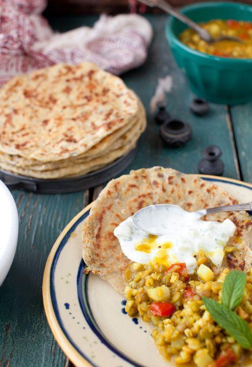 ... barley soup with potato stuffed flatbread (aloo paranta): love it