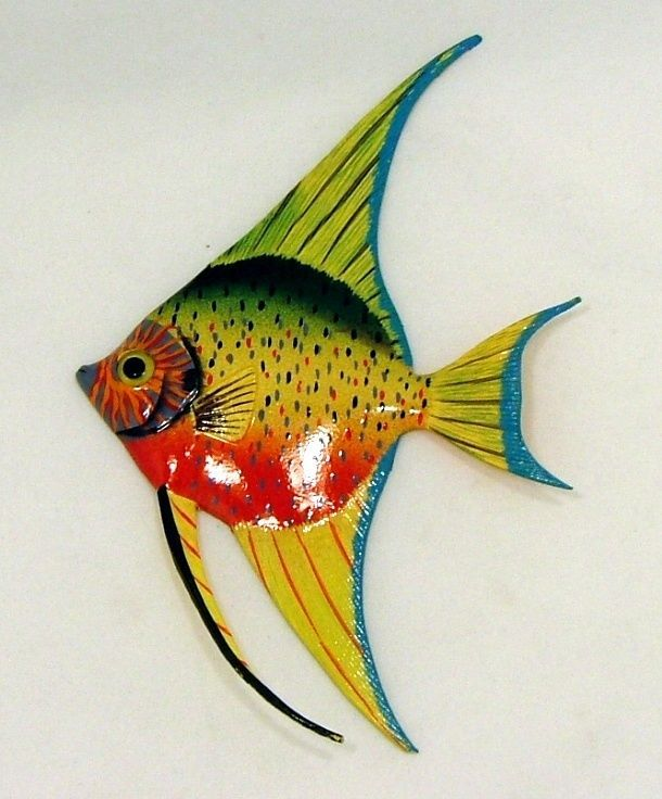 Tropical Bright Colorful Yellow Red Angel Fish Wall Decor