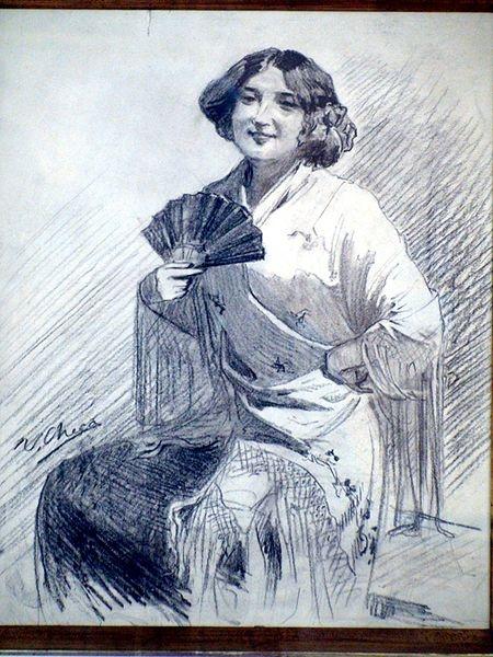 File:Mujer con abanico y manto - Ulpiano Checa.JPG