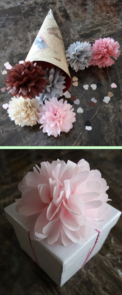 Mini pompones de papel • Decoration ideas for tables and gifts with pompoms | pomtree, etsy