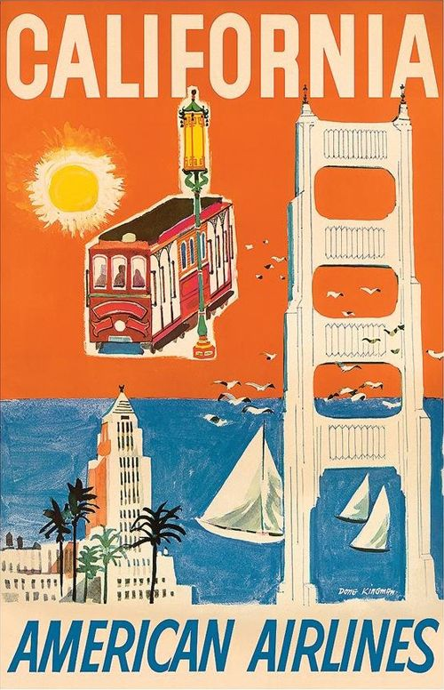 American Airlines | Beautiful Vintage San Francisco Travel Posters