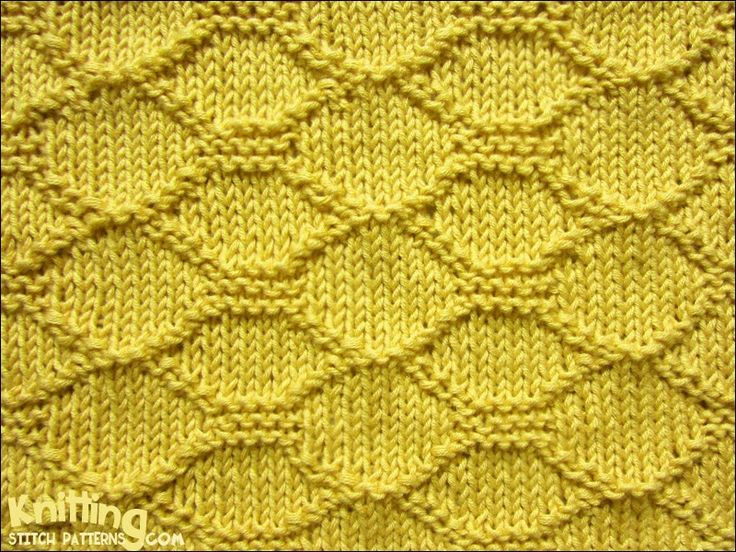 Knitted Quilt Block Patterns : Block Quilting on a stockinette stitch background knittingstitchpatterns.co...