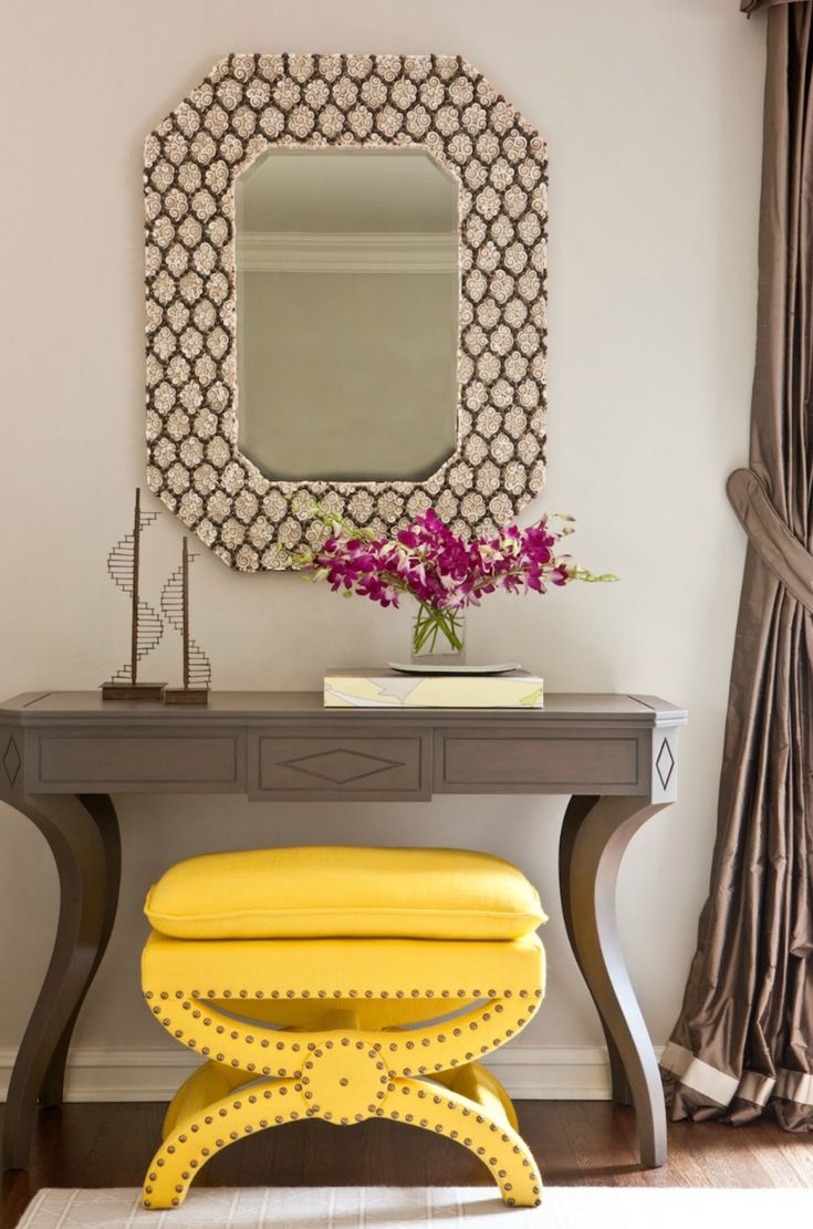 """The Height of Chic: Spaces that make you say """"Oh, la la!"""" yellow bench"""