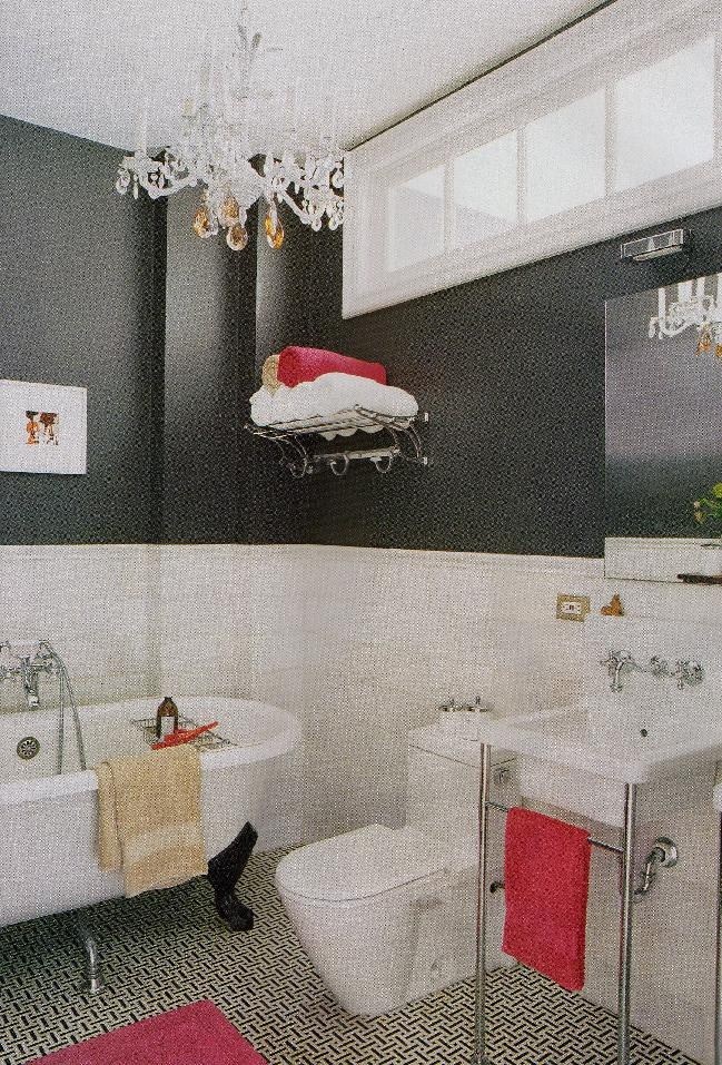 Gray And Red Vintage Inspired Bath Home Pinterest