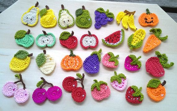 Crocheting Vegetables : 28pcs - Mix fruits and vegetables combo crochet appliques- made to or ...