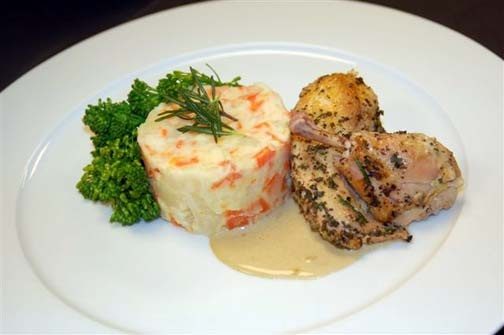 Rosemary Roasted Poussin with Porcini Cream Sauce and Root Vegetable ...