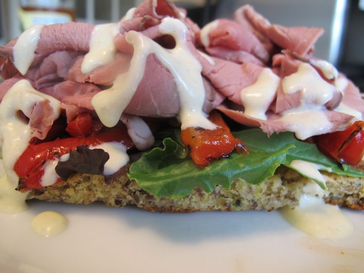 open-faced roast beef and red pepper sandwich - serve on gluten free ...