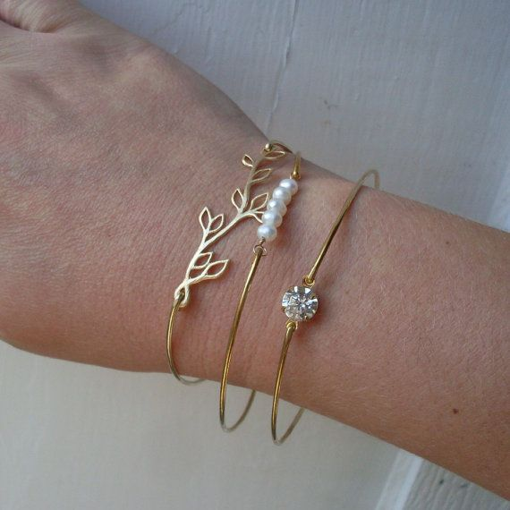 Romance - Silver Bridal Bracelet Set, Dainty Bangle, Dainty Bracelet, Delicate Bangle, Delicate Bracelet, Delicate Jewelry, Dainty Jewelry