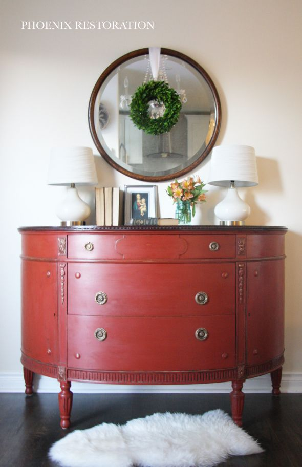 Demilune Buffet Makeover {by: Phoenix Restoration} #phoenixrestoration #furnituremakeover #milkpaint #generalfinishes #forsaleseattle