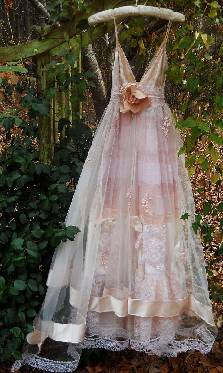 Blush wedding dress vintage tulle satin beading ethereal for Romantic bohemian wedding dresses