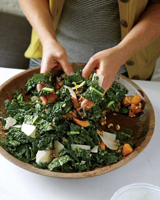 Lacinato Kale Salad with Roasted Squash. I will use EVOO instead of ...
