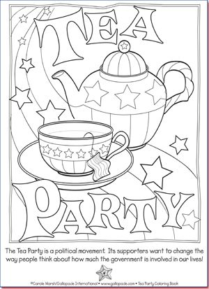 Tea time coloring pages coloring pages for Tea party coloring page