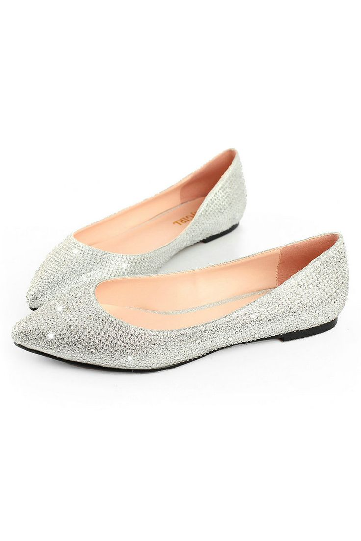 Silver Low Heel Evening Shoes