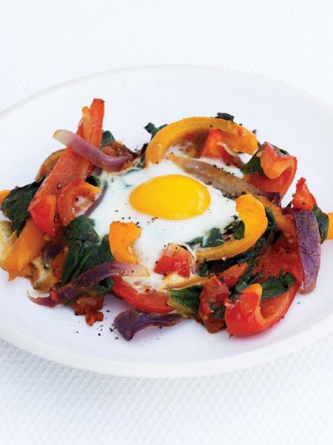 ... Eggs with Tomatoes and Peppers ♦ olive oil, chopped tomatoes