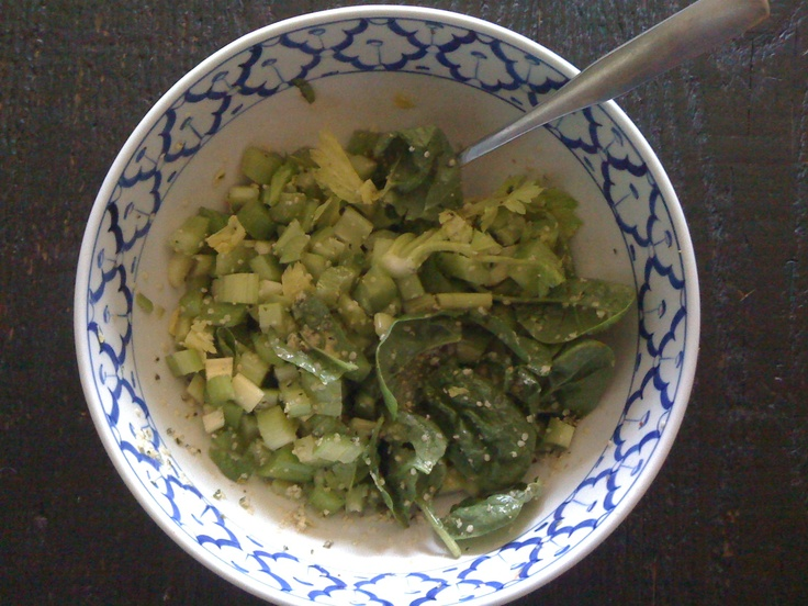 Crunchy Simple Nutritious Salad Slice celery small pieces, add spinach ...