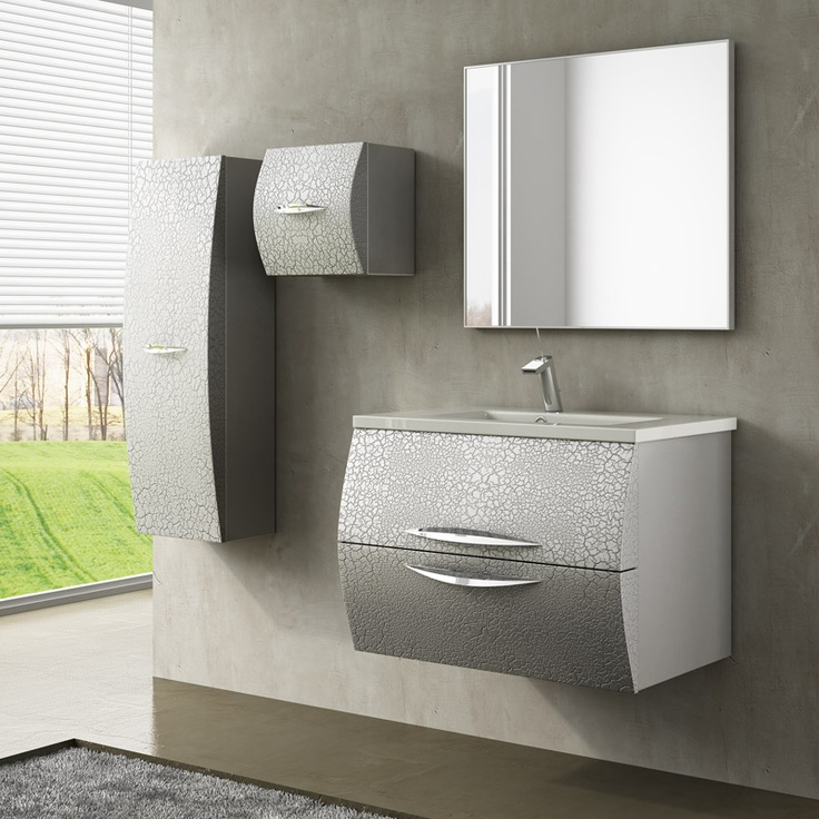 Muebles De Baño Javea:Precioso acabado craquelé plata para el muebles de baño Javea, que