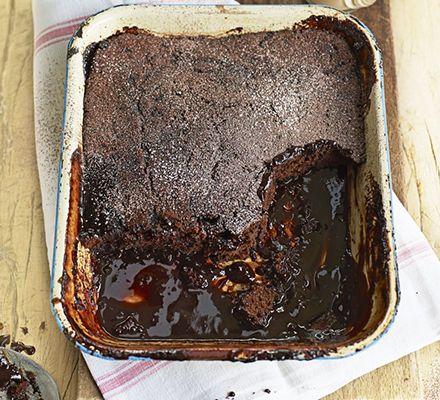 Boozy self-saucing chocolate pud. Break through the spongey chocolate ...