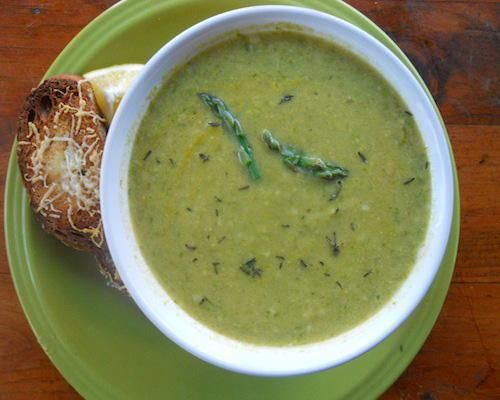 Cream of Asparagus soup -- coconut mill an no parm cheese and it's ...