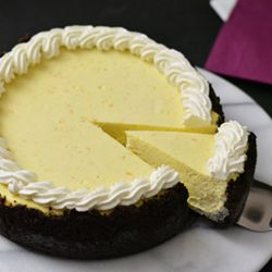 Orange ricotta cheesecake with chocolate cookie crust