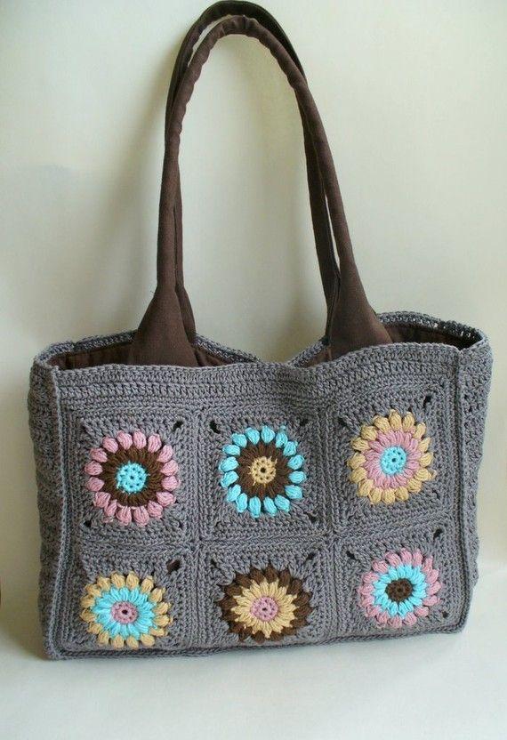 Granny Square Bag : Crochet granny square bag