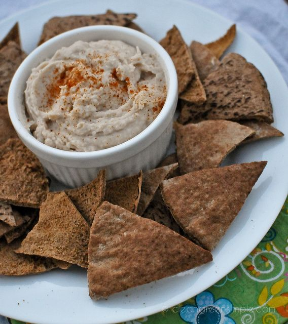 white bean dip and homemade pita chips | Sauces, dips, spreads | Pi…