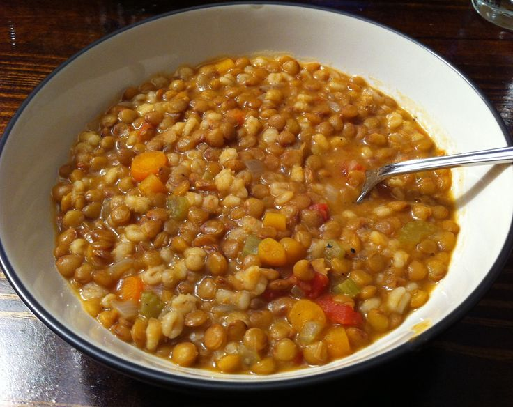 ... lentil and barley soup. A great vegetarian meal for #MeatlessMonday